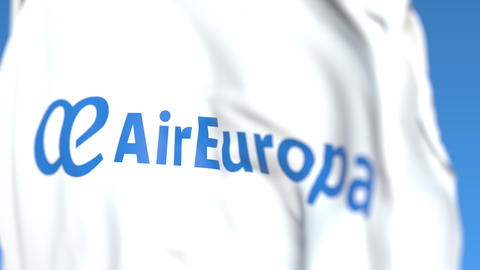 Flying flag with Air Europa logo, close-up. Editorial loopable 3D animation Live Action