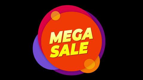 Mega Sale Text Sticker Colorful Sale Popup Animation Footage