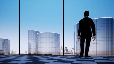 Businessman contemplating next big business deal video concept Live Action