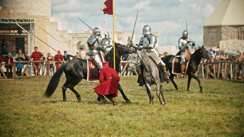 BULGAR, RUSSIA 11-08-2019: Knights having a battle on the field - the judge Live Action