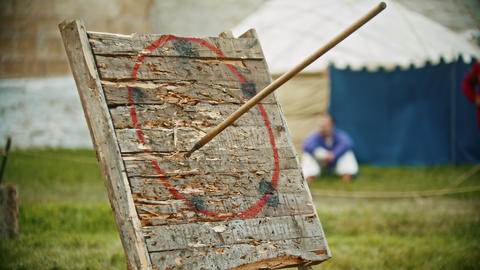 A person throwing a spear in the wooden target - gets in the circle area Footage