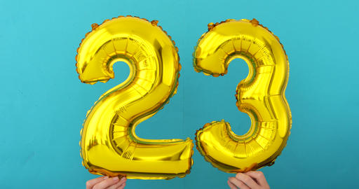 Gold foil number 23 twenty three celebration balloon Footage