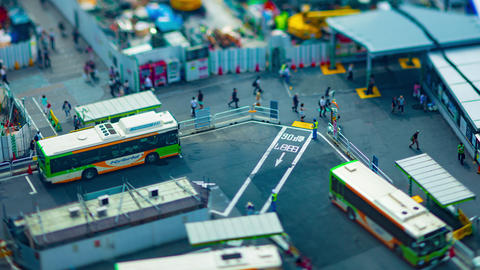 A timelapse of Shibuya bus rotary in Tokyo high angle tiltshift panning Live Action