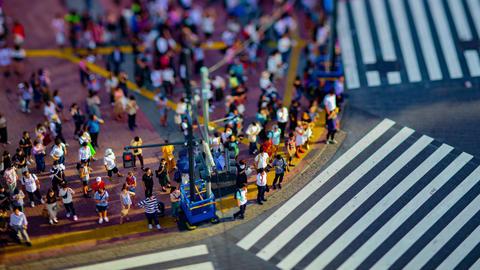 A timelapse of Shibuya crossing in Tokyo high angle tiltshift tilt Footage