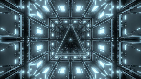 silver tunnel with nice reflection and silver wireframe background 3d rendering Animation