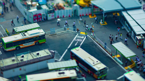 A timelapse of Shibuya bus rotary in Tokyo high angle tiltshift zoom Live Action