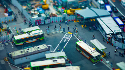 A timelapse of Shibuya bus rotary in Tokyo high angle tiltshift tilt Live Action