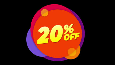 20% Percent Off Text Flat Sticker Colorful Popup Animation Footage
