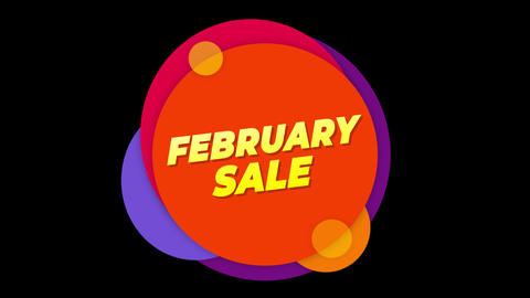 February Sale Text Sticker Colorful Sale Popup Animation Live Action