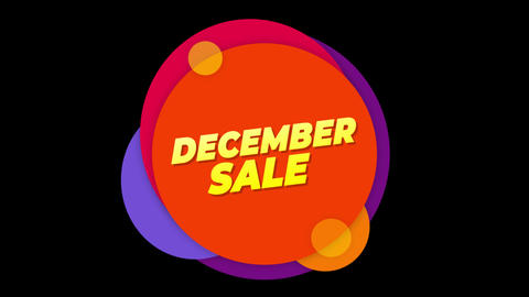 December Sale Text Sticker Colorful Sale Popup Animation Footage