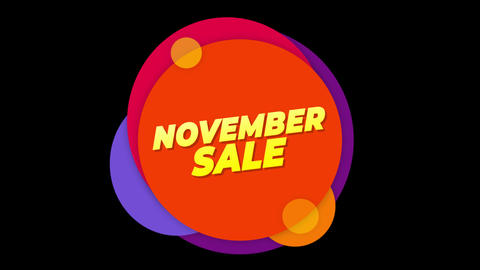 November Sale Text Sticker Colorful Sale Popup Animation Footage