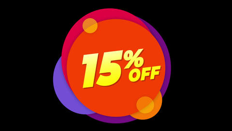 15% Percent Off Text Flat Sticker Colorful Popup Animation Live Action