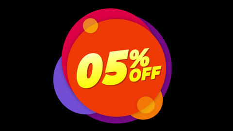 05% Percent Off Text Flat Sticker Colorful Popup Animation Live Action
