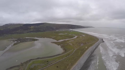 Aerial panorama in Wales Footage