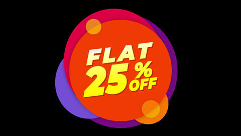 Flat 25% Percent Off Text Flat Sticker Colorful Popup Animation Live Action