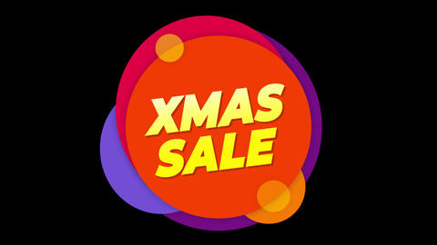 Xmas Sale Text Sticker Colorful Sale Popup Animation Footage