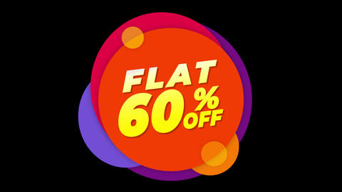Flat 60% Percent Off Text Flat Sticker Colorful Popup Animation Live Action