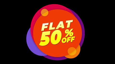 Flat 50% Percent Off Text Flat Sticker Colorful Popup Animation Live Action
