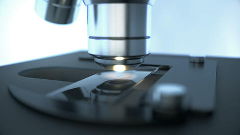 Laboratory microscope science research inspecting chemical drop on sample slide Animation