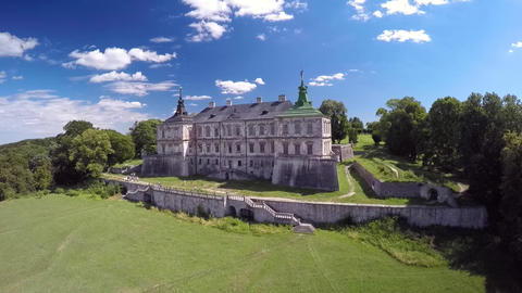 Aerial side view of an old Ukrainian castle Live Action