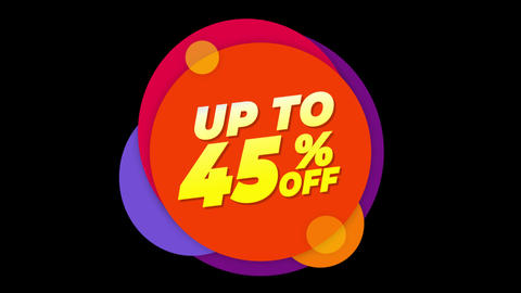 Up To 45% Percent Off Text Flat Sticker Colorful Popup Animation Live Action