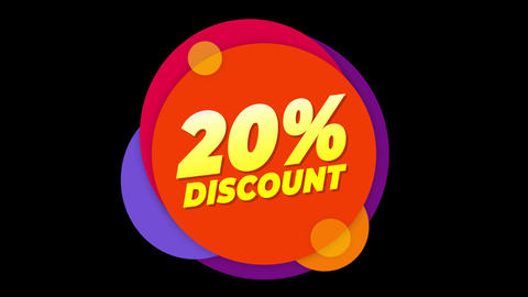 20% Percent Discount Text Flat Sticker Colorful Popup Animation Footage