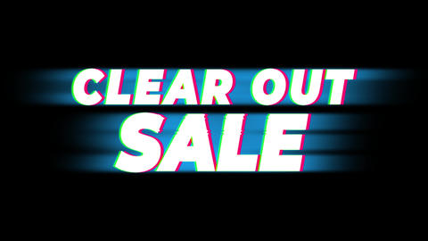 Clear Out Sale Text Vintage Glitch Effect Promotion Footage