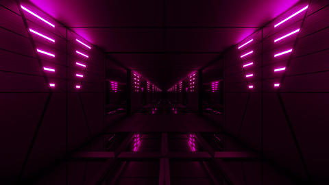 pink stylish dark sci-fi tunnel qith nice glow 3d illustration background Animation