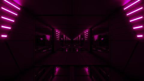 pink stylish dark sci-fi tunnel qith nice glow 3d… Stock Video Footage