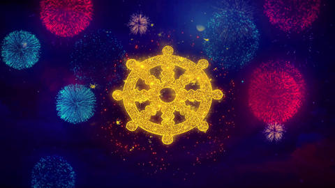Wheel of Dharma Buddhism religion Icon Symbol on Colorful Fireworks Particles Live Action