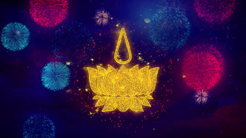 Religious symbol Ayyavazhi symbolism Icon Symbol on Colorful Fireworks Particles Live Action