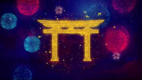 Shinto symbol Torii religion Icon Symbol on Colorful Fireworks Particles Live Action