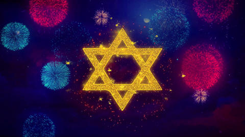 David The Jewish star Religion Icon Symbol on Colorful Fireworks Particles Live Action