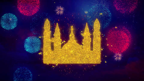 Islamic Icon, Mosque religious, muslim Icon Symbol on Colorful Fireworks Live Action