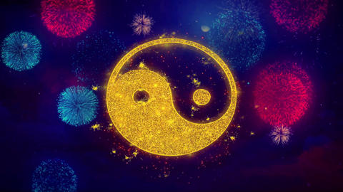 Yin Yang Taoism buddhism daoism religion Icon Symbol on Colorful Fireworks Live Action