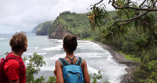 Hawaii travel tourist hiking to beach on USA vacation on Pololu Valley hike Live Action