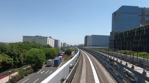 Traveling images of city traffic. Curve approach ライブ動画