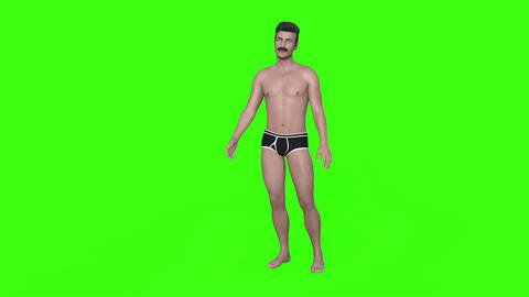Man in Swimming Trunks Gesticulating,green screen ライブ動画