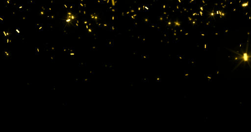 falling gold glitter foil confetti, animation 3d movement on black background, holiday and festive Footage