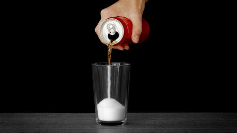 Sugar in Soda Poured from a Can Live Action