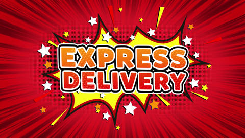 EXPRESS DELIVERY Text Pop Art Style Comic Expression Footage