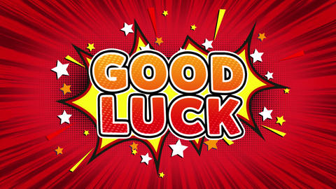 Good Luck Text Pop Art Style Comic Expression Live Action