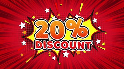 20% Percent Discount Text Pop Art Style Comic Expression Footage