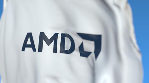 Waving flag with Advanced Micro Devices AMD logo, close-up. Editorial loopable Live Action