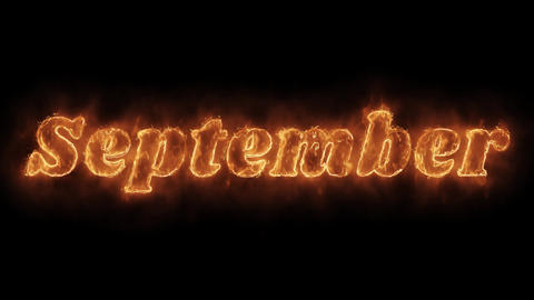 September Word Hot Animated Burning Realistic Fire Flame Loop Footage