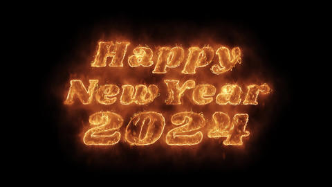 Happy New Year 2024 Word Hot Animated Burning Realistic Fire Flame Loop Live Action