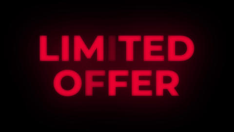 Limited Offer Text Flickering Display Promotional Loop Live Action
