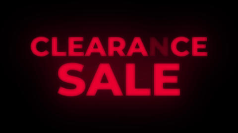 Clearance Sale Text Flickering Display Promotional Loop Live Action