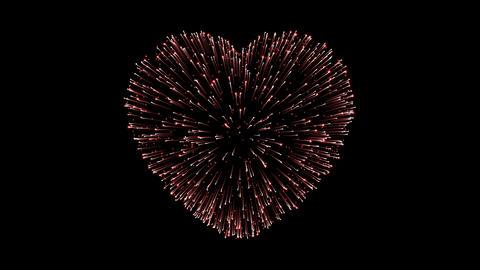 Heart shape fireworks Animation