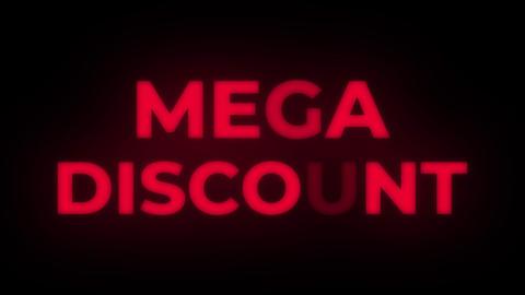 Mega Discount Text Flickering Display Promotional Loop Live Action